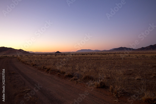 Spoed Foto op Canvas Chocoladebruin landscape of africa in the sunset