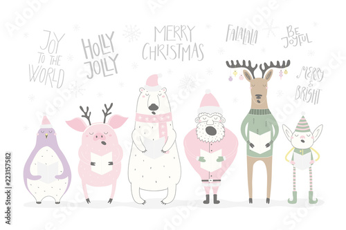 Printed kitchen splashbacks Illustrations Hand drawn vector illustration of a cute funny singing Santa, elf, animals, with different Christmas quotes. Isolated objects on white background. Flat style design. Concept Christmas card, invite.
