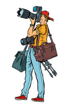 Professional Photographer With Camera And Equipment. Isolate On