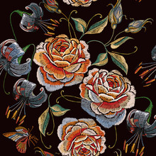 Embroidery Vintage Roses,tiger Lillies And Tropical Butterfly Seamless Pattern. Template For Clothes, Textiles, T-shirt Design