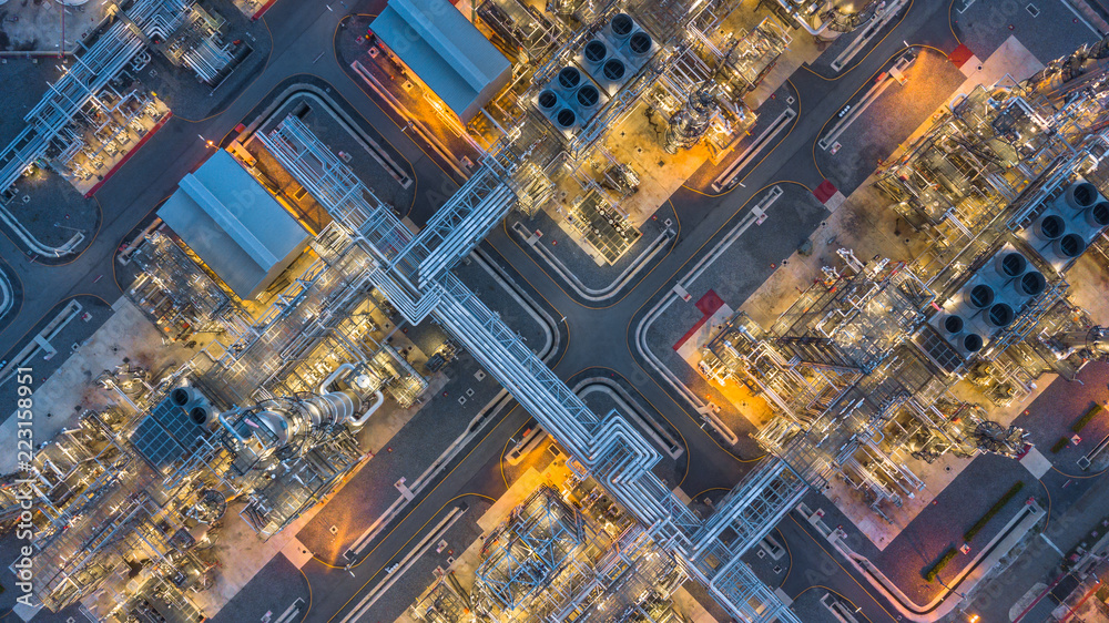 Fototapety, obrazy: Aerial top view oil and gas refinery plant form industry zone at night.