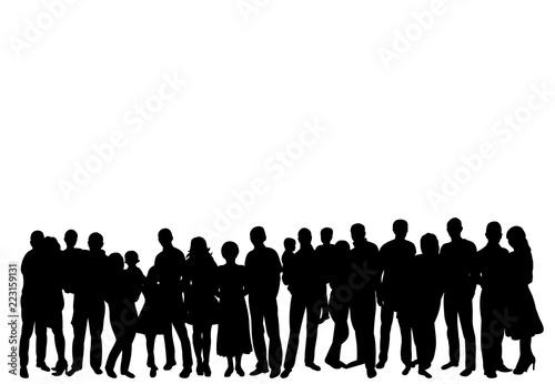set silhouette of a crowd of people Fototapeta