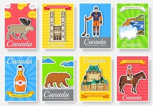 Set Of Canada Country Ornament Travel Trip Concept. Art Traditional, Magazine, Book, Poster, Abstract, Banners, Element. Vector Decorative Ethnic Greeting Card Or Invitation Sticker Design Background