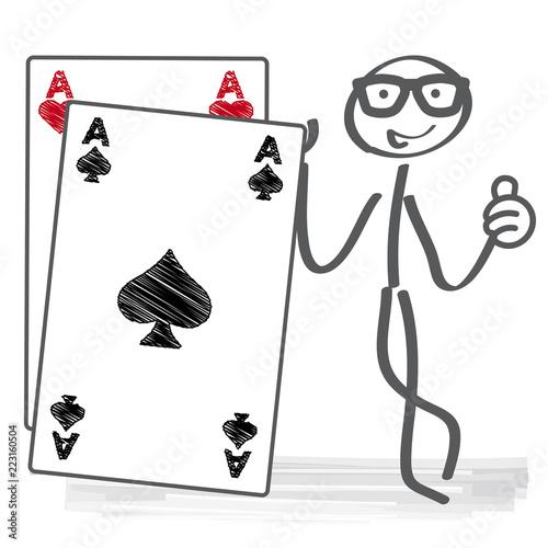 Strichmännchen hält Spielkarte Pik As Fotobehang