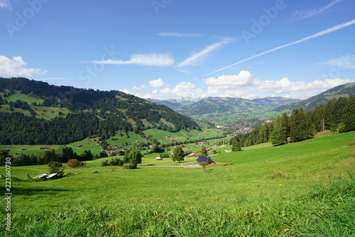 Tuinposter Pistache Swiss Alps early autumn landscape