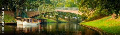 Obraz na plátně beautiful panorama of Riga park