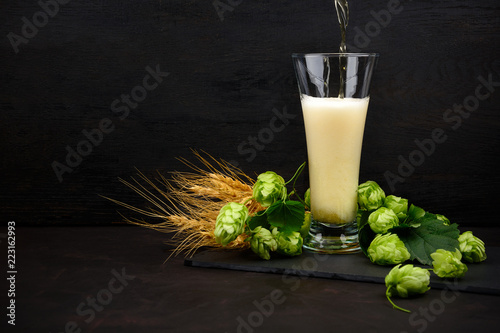 Poster Bier / Cider Beer pouring into a glass. Glass of beer with green hops and wheat ears on dark wooden table. Still life