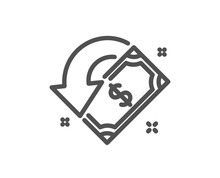 Cashback Line Icon. Send Or Receive Money Sign. Quality Design Element. Classic Style Cashback. Editable Stroke. Vector