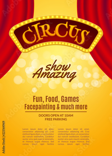 Fotografia Circus show poster template with sign and light frame