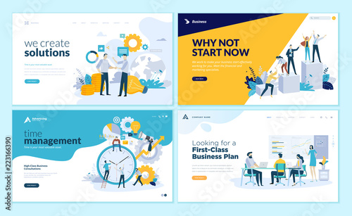Photo Set of web page design templates for business solutions, startup, time management, planning and strategy