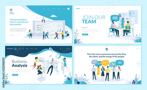 Photo  Set of web page design templates for business app, data analysis, career, communication, teamwork