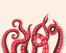 Tentacles Octopus Underwater Marine Animal Background Card. Vector