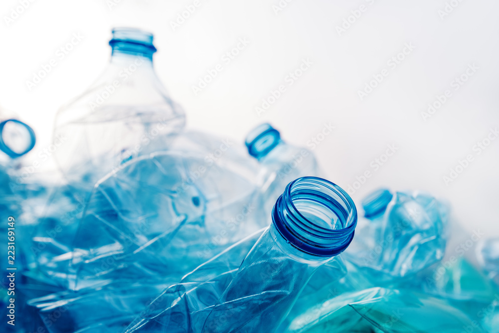 Fototapeta Crushed plastic bottles heap