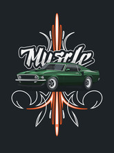 Classic Muscle Car Poster With Tribal Ornament On Dark Background.