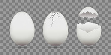 Set Of White Chicken Eggs. Shell With Cracks. Isolated On A Tran