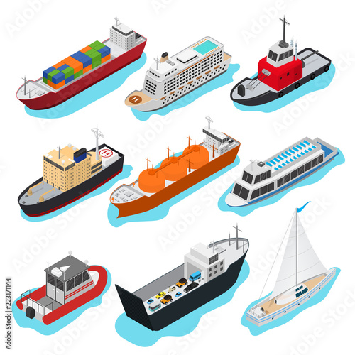 Fotografia Commercial Sea Ships Signs 3d Icon Set Isometric View. Vector