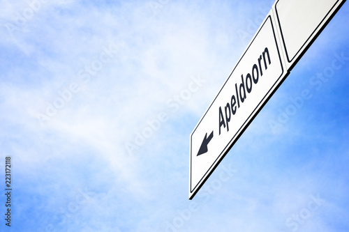 Signboard pointing towards Apeldoorn Canvas Print