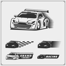Set Of Speeding Racing Cars. Vector Illustration.