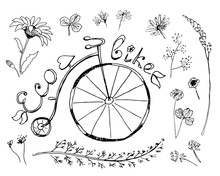 """Vintage Bicycle With """"Eco-bike"""" Text And Set Of Floral Elements.Vector Illustration, Hand Drawn Black And White Sketch."""