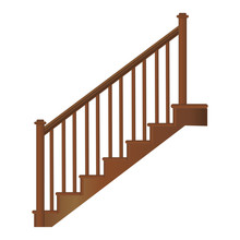 Wooden Staircase With Handrails And Steps, Realistic Vector On A White Background.