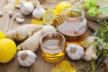 Honey, Ginger, Garlic, Lemon And Herbs. Alternative Medicine