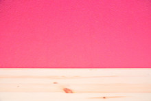 Empty Wood Desk And Wall Pink ...