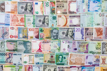 Top View Of World Banknotes Co...