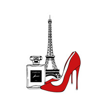 Paris Set: Eiffel Tower, Red Shoes, Perfume. Vector Hand Drawn Illustration With Eiffel Tower. Fashionable Accessories. Paris Romantic Design. Vector Trendy Illustration. Beauty Fashion Woman Set.