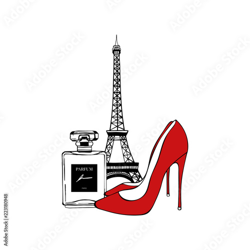Fototapeta Paris set: Eiffel Tower, red Shoes, Perfume