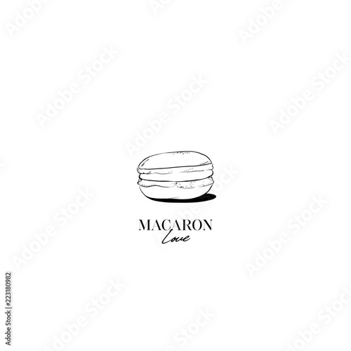 Aluminium Prints Macarons Hand drawn Sketch Cake macaron, macaroon isolated on white background. Love macaron, macaroon biscuits, sweet and beautiful dessert. Fashion French pastry macarons