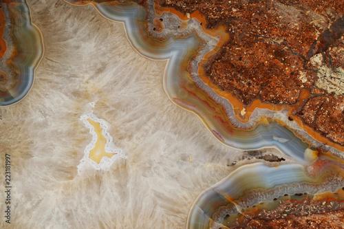 Valokuva Macro photo of agate or polished gemstone quartz surface