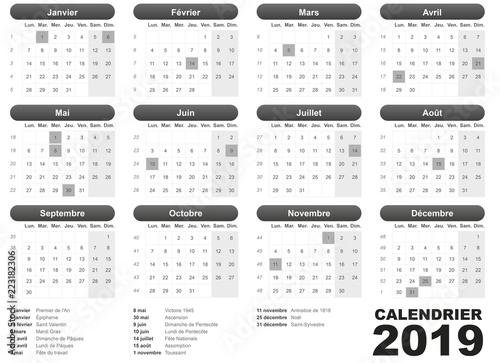 Fotografía  calendrier français 2019 jours fériés noir simple
