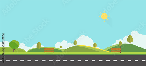 Public park with bench with sky background vector illustration.Beautiful nature scene.Spring landscape with main street.;