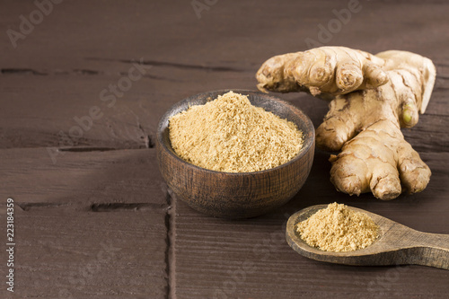 Fotografie, Obraz Ginger root and ginger powder