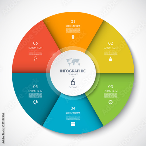 Fototapeta Vector infographic circle. Cycle diagram with 6 options. Can be used for chart, graph, report, presentation, web design. obraz