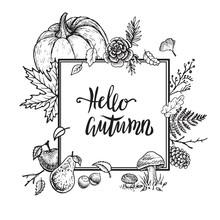 Hello Autumn Vector Frame. Hand Drawn Vintage Template Design.