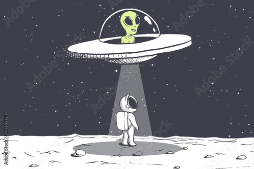 Fotografie, Obraz  an alien abducts an astronaut on Moon