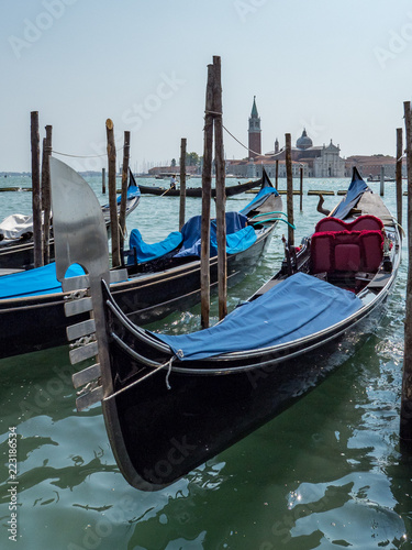 Foto op Plexiglas Venetie Traditional Gondola on Canal Grande in the background, Venice, Italy. August, 2018