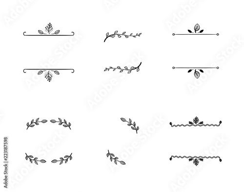 Fotografie, Obraz  Vector Set of Doodle Floral Frames, Vignettes, Black Lines Isolated on White Background