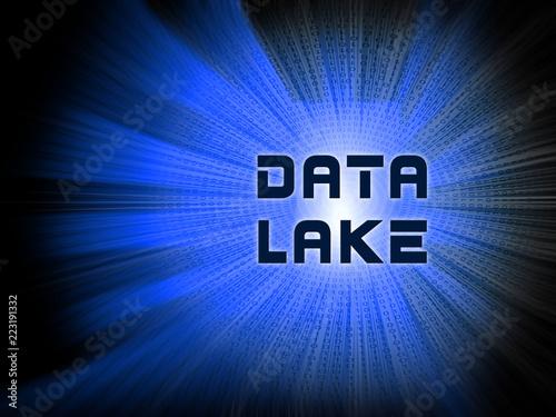 Data Lake Digital Datacenter Cloud 2d Illustration Canvas Print