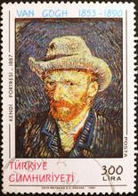 Self-portrait Of Van Gogh On Postage Stamp