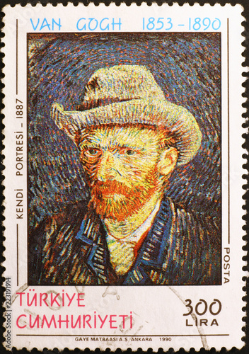 Valokuva Self-portrait of Van Gogh on postage stamp