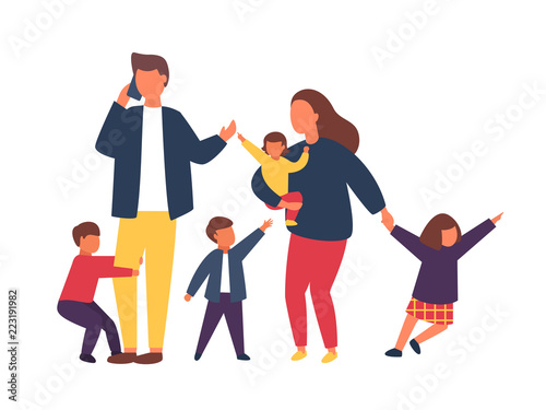 Obraz Family with kids. Busy and tired parents with naughty children. Vector illustration - fototapety do salonu
