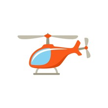 Orange Cartoon Helicopter On White Background. Isolated Object. Illustration For Child. Flat Style. Vector Icons.