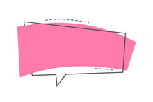 Blank Bubble For Quotes Or Slogans Sales. Bright Pink Banner. Vector Illustration Linear Style.