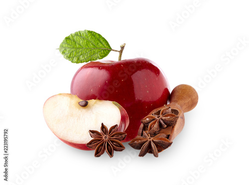 Red apple with leaf  and  anise on white background Canvas Print