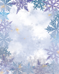 FototapetaTextured Empty Surface Decorated with Snowflakes.