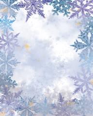 Fototapeta Boże Narodzenie/Nowy Rok Textured Empty Surface Decorated with Snowflakes.