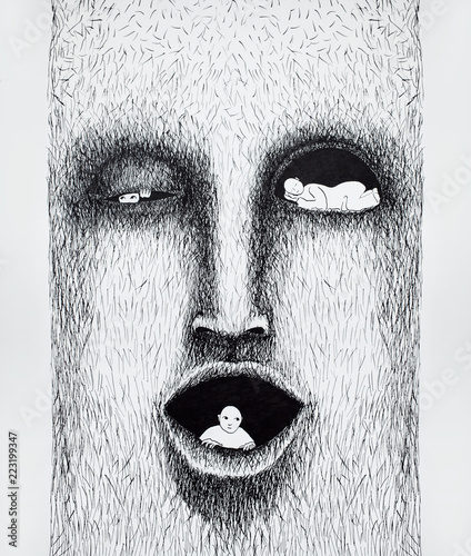 Ingelijste posters Surrealisme Beautiful black and white stylized illustration made by hand that represents a stylezed face with three people inside of it