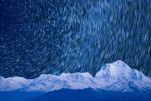 Starry Sky With Mountains In I...